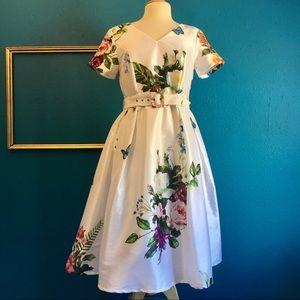 EShakti dress, white with floral print, sz M